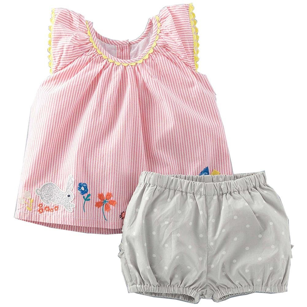 Frogwill Little Girls 2 Pieces Playwear Set with Bunny and Applique 7