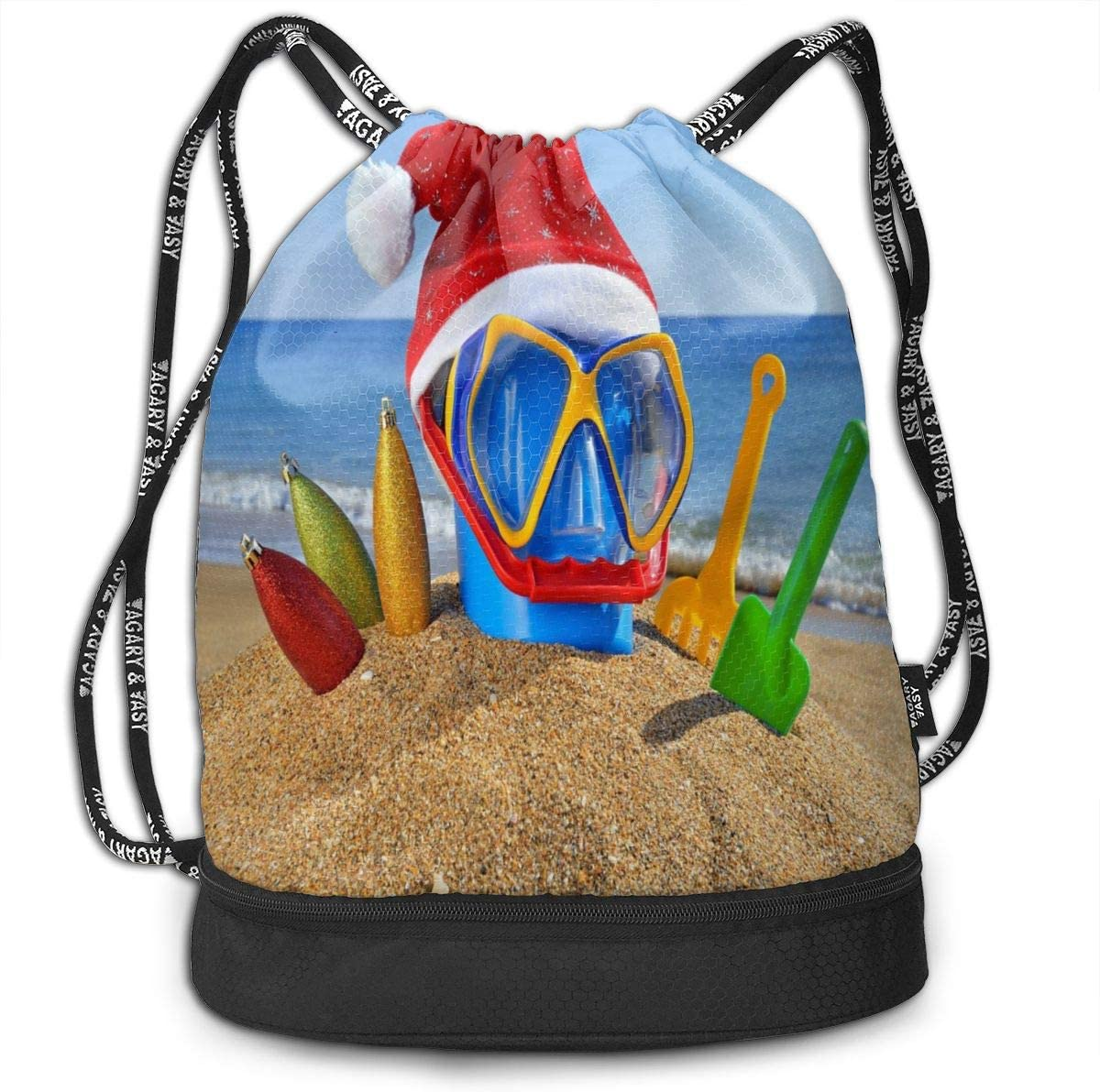 Unisex Bundle Backpack Sand Beach Starfish And Shells Travel Durable Large Space Fantastic Waterproof Drawstring Bag