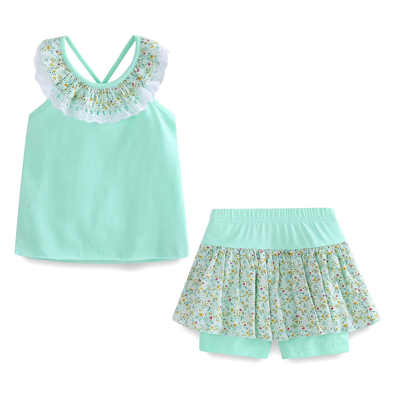Mud Kingdom Clothes for Girls 4T Mint Green Summer