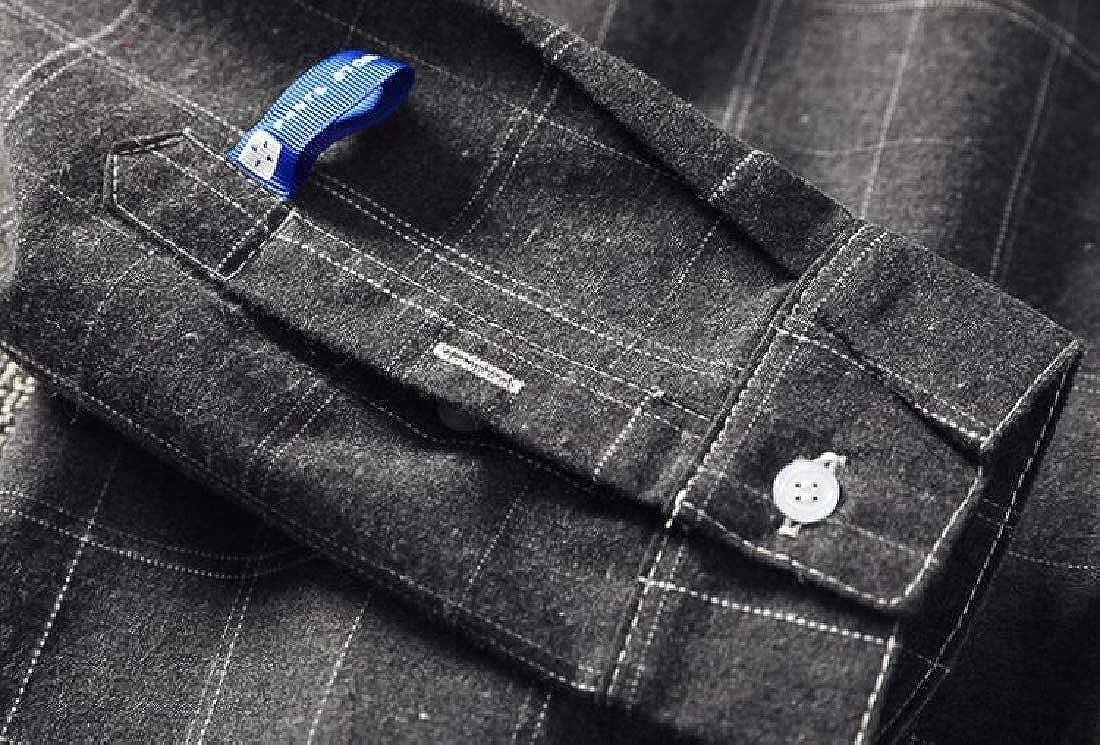 MOUTEN Mens Lapel Casual Long Sleeve Loose Plaid Print Button Down Dress Shirt