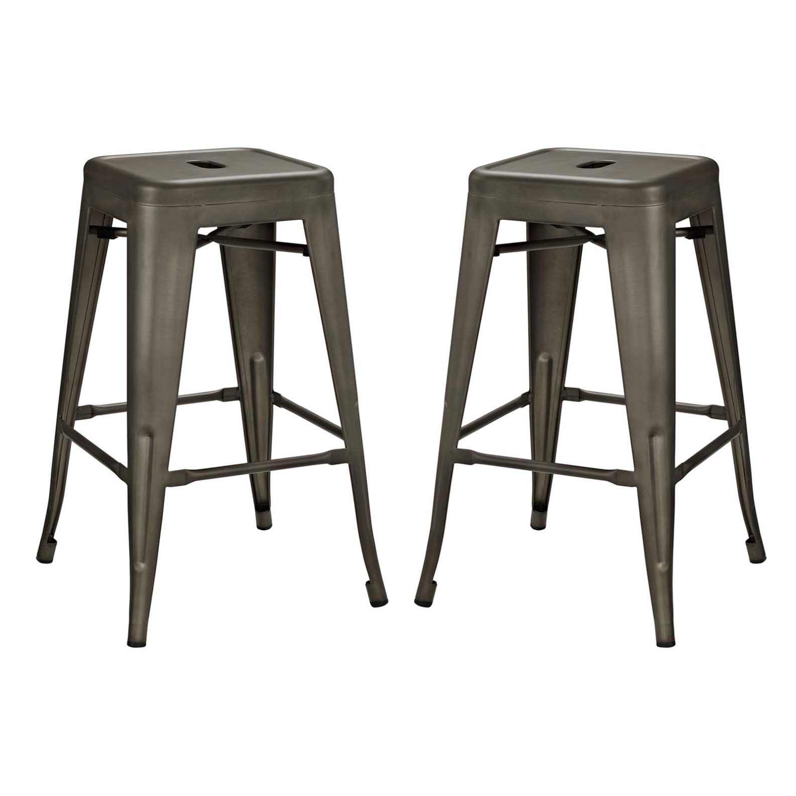 Modern Urban Industrial Distressed Antique Vintage Counter Stool Chair ( Set of 2), Brown, Metal