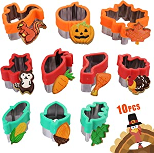 Fall Thanksgiving Cookie Cutters Set - 10 Piece - Include Pumpkin,Maple Leaf,Leaf,Big Squirrel,Small Squirrel,Turkey Leg,Carrot,Turkey,Acorn,Corn,Food Grade Sandwich Cutters Mold for Kids