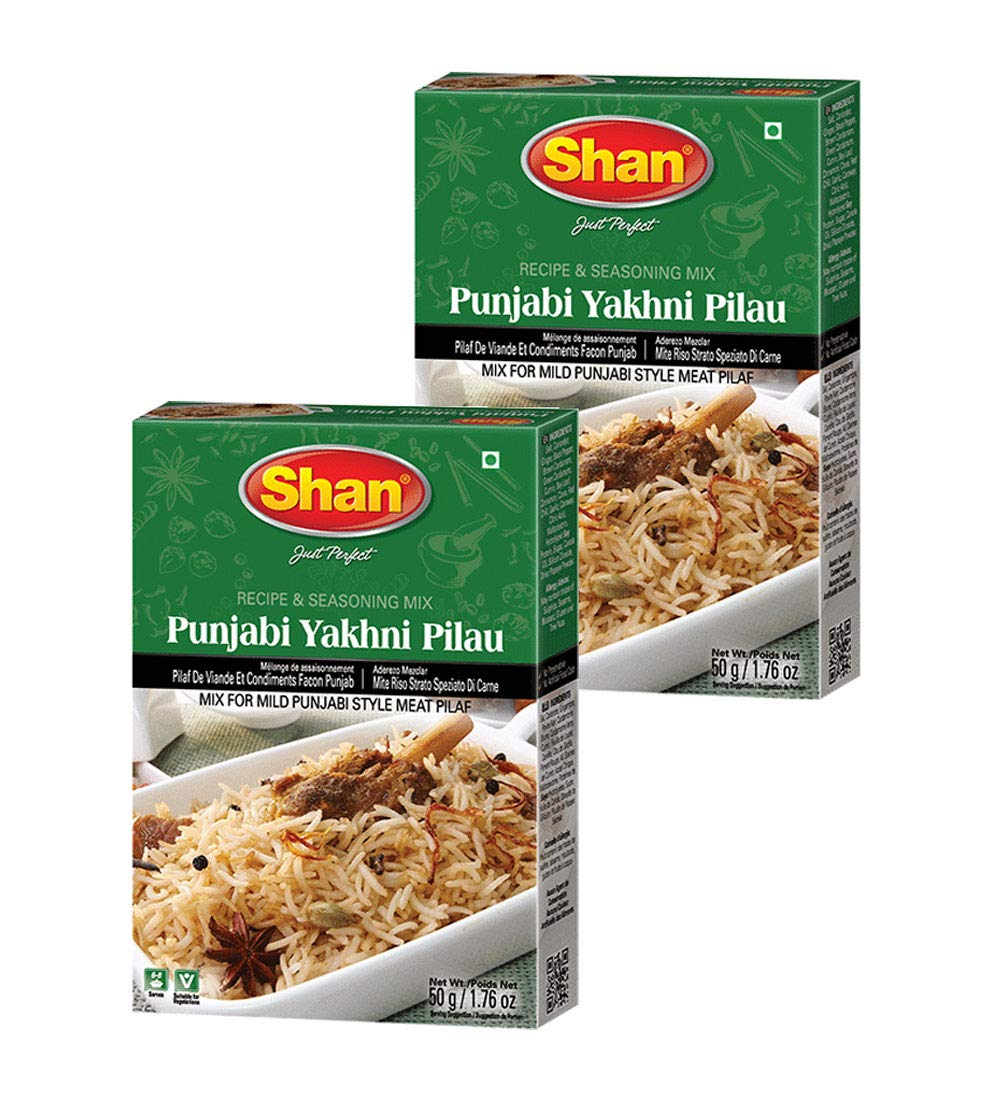 Shan Punjabi Yakhni Pilau Recipe and Seasoning Mix 1.76 oz (50g) - Spice Powder for Mild Punjabi Style Meat Pilaf - Suitable for Vegetarians - Airtight Bag in a Box (Pack of 2)