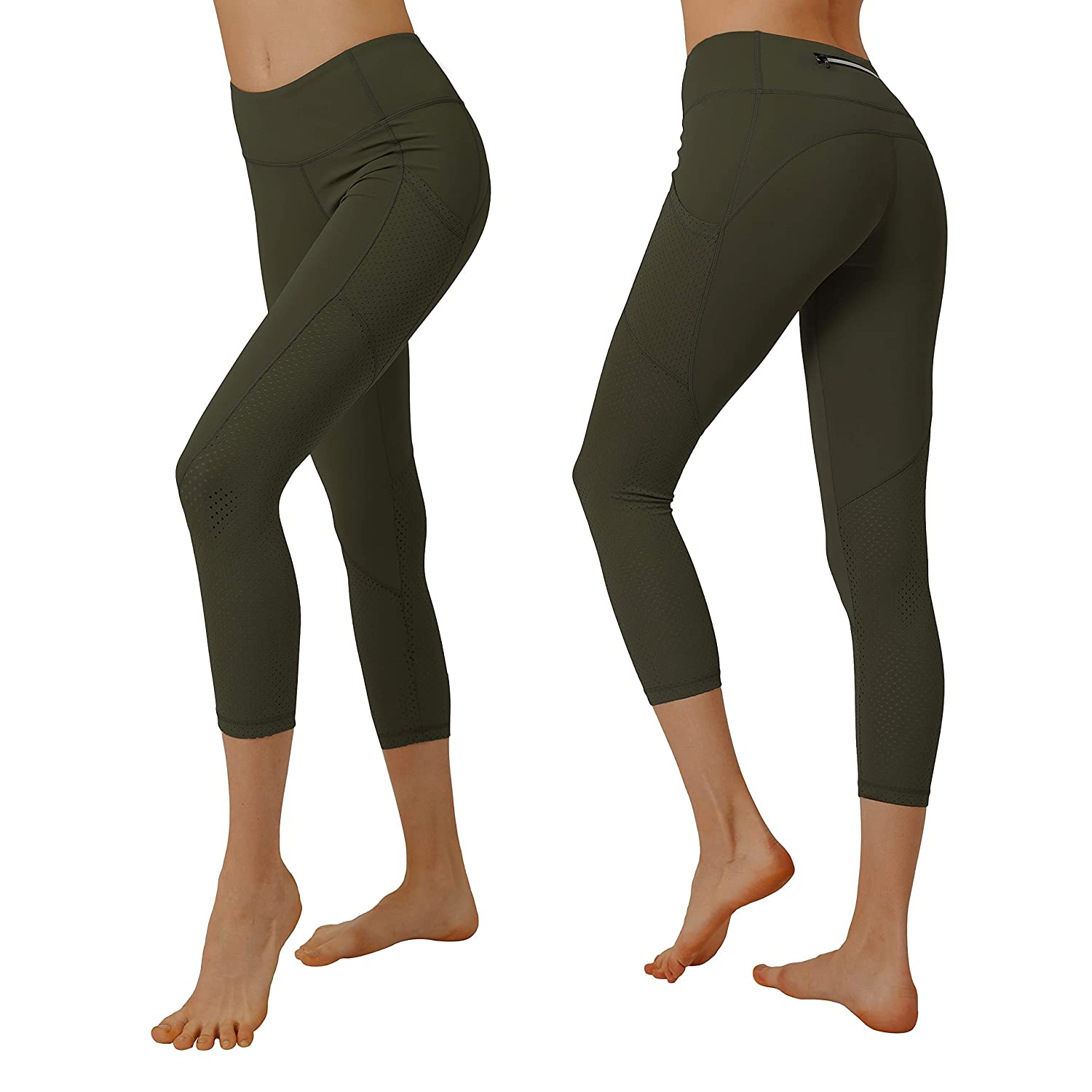 Dark Olive Cityoung Women's High Waist Power Flex Yoga Capri Legging Tummy Control Workout Running Pants with Pockets