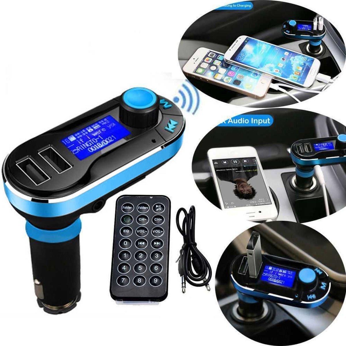 FusionTech/® Transmisor FM Bluetooth con control remoto Manos Libres 2 Puerto USB Cargador de M/úsica MP3 Coche Kit con Interruptor de Pantalla Soporte Entrada para M/óviles,Tablet Salida AUX