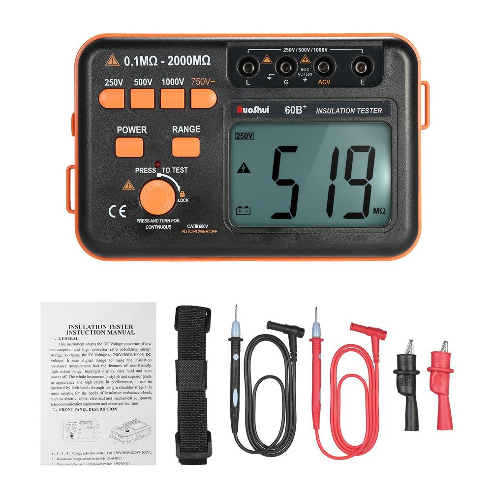 1000V Volmeter W//LCD Backlight Display 60B 250V Roeam Insulation Tester ACV Meter 1999 Ohms Resistance 500V