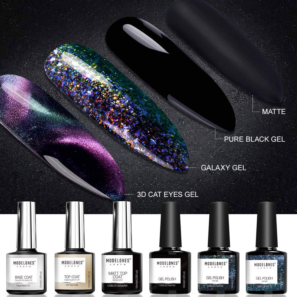 Modelones Gel Nail Polish Set - 3D Cat Eyes Chameleon Gel Polish Galaxy Glitter Gel Polish Matte Top Coat Base Coat Top Coat with 1 Magnet Stick 6pcs 10ml by modelones
