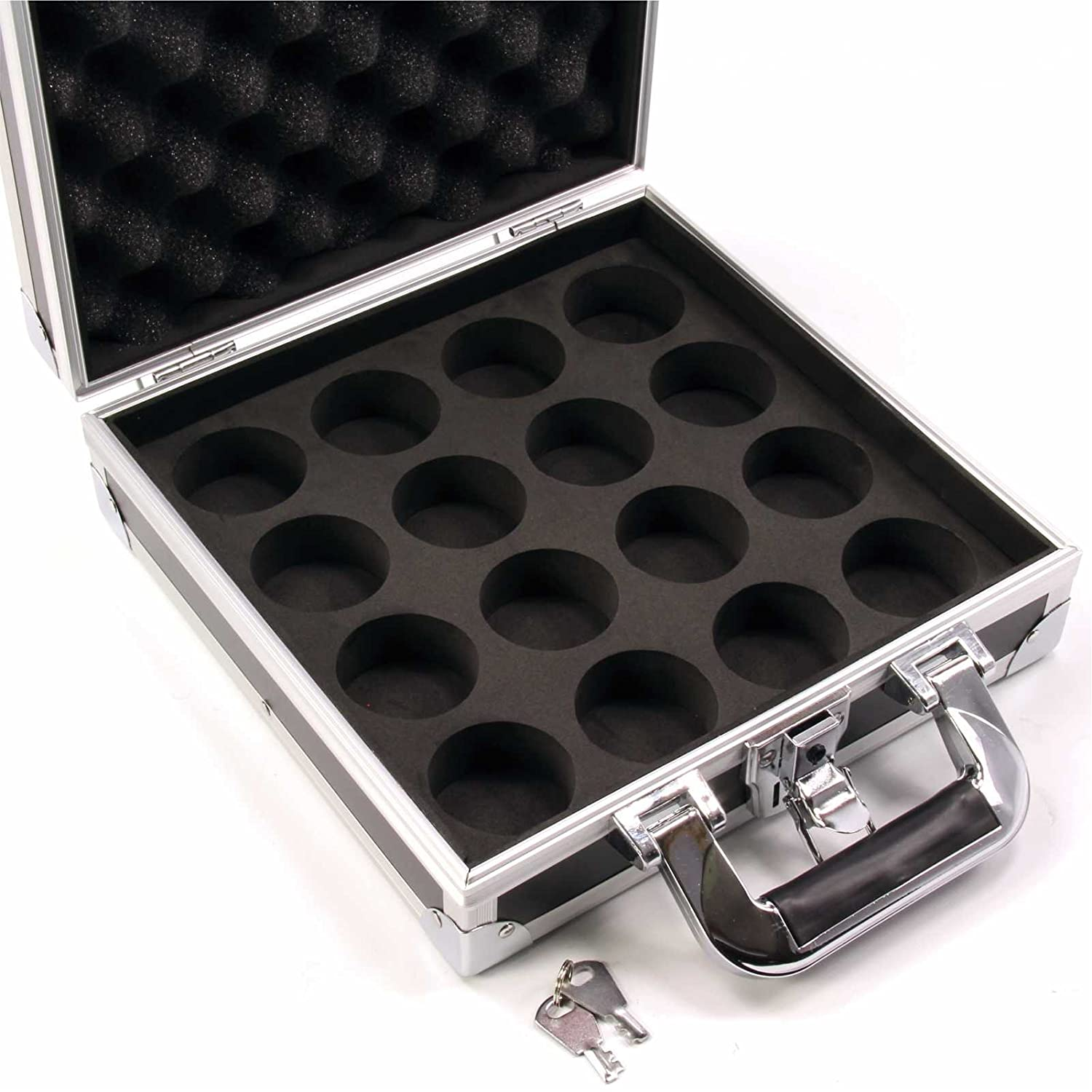 Hard Aluminium 16 x 2' English Pool Ball Carrying & Storage Case LOCKABLE - Ideal for storing your league pool balls