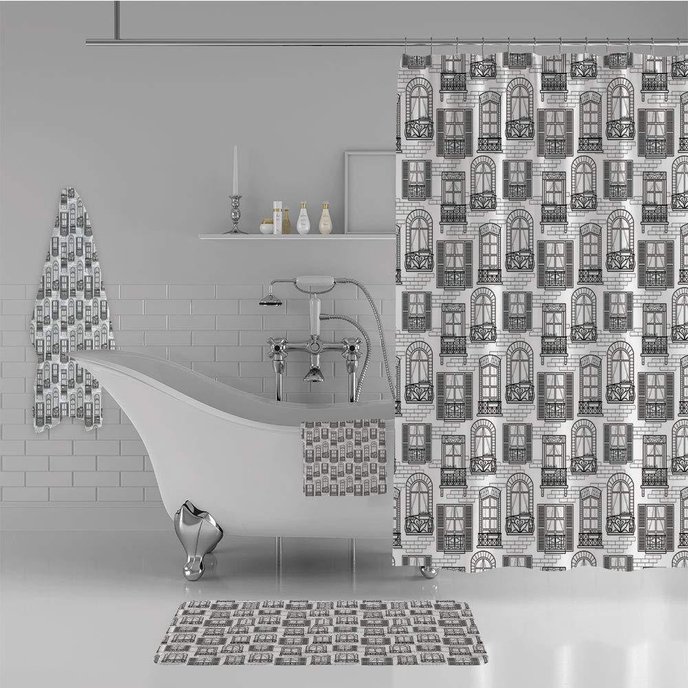 iPrint Bathroom 4 Piece Set Shower Curtain Floor mat Bath Towel 3D Print,Urban Architecture European Windows City Town,Fashion Personality Customization adds Color to Your Bathroom.