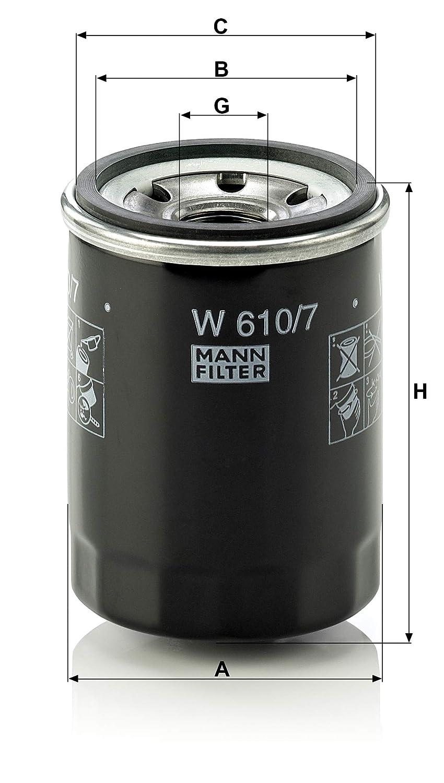 Originale MANN-FILTER Filtro Olio W 610//7 Per Automobili