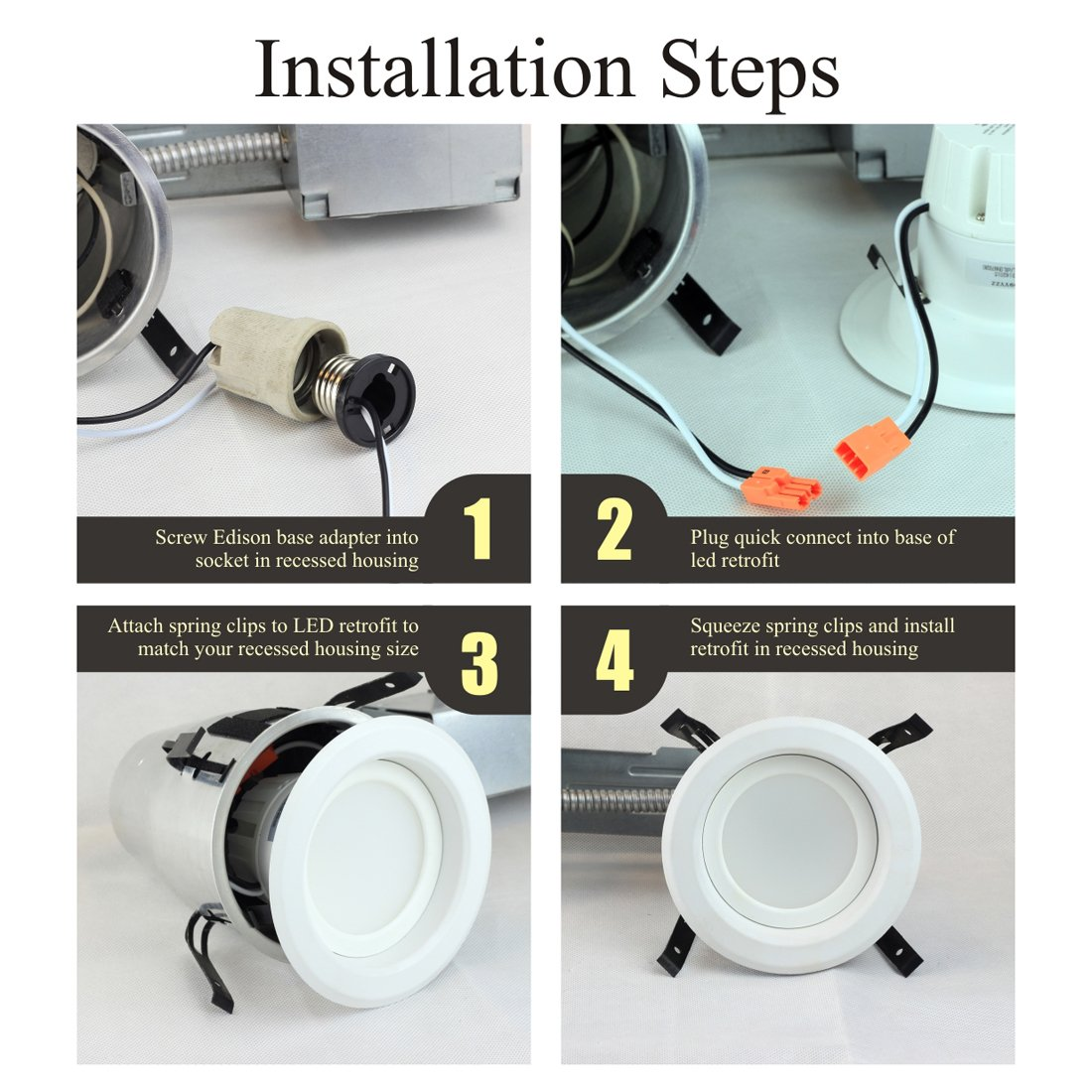 Shine HAI 4 inch Dimmable LED Downlight, 9W (65W Replacement), 5000K Daylight White, 850 Lumens, Retrofit LED Recessed Lighting Fixture, LED Ceiling Light, Recessed Downlight, 12-Pack by SHINE HAI (Image #8)
