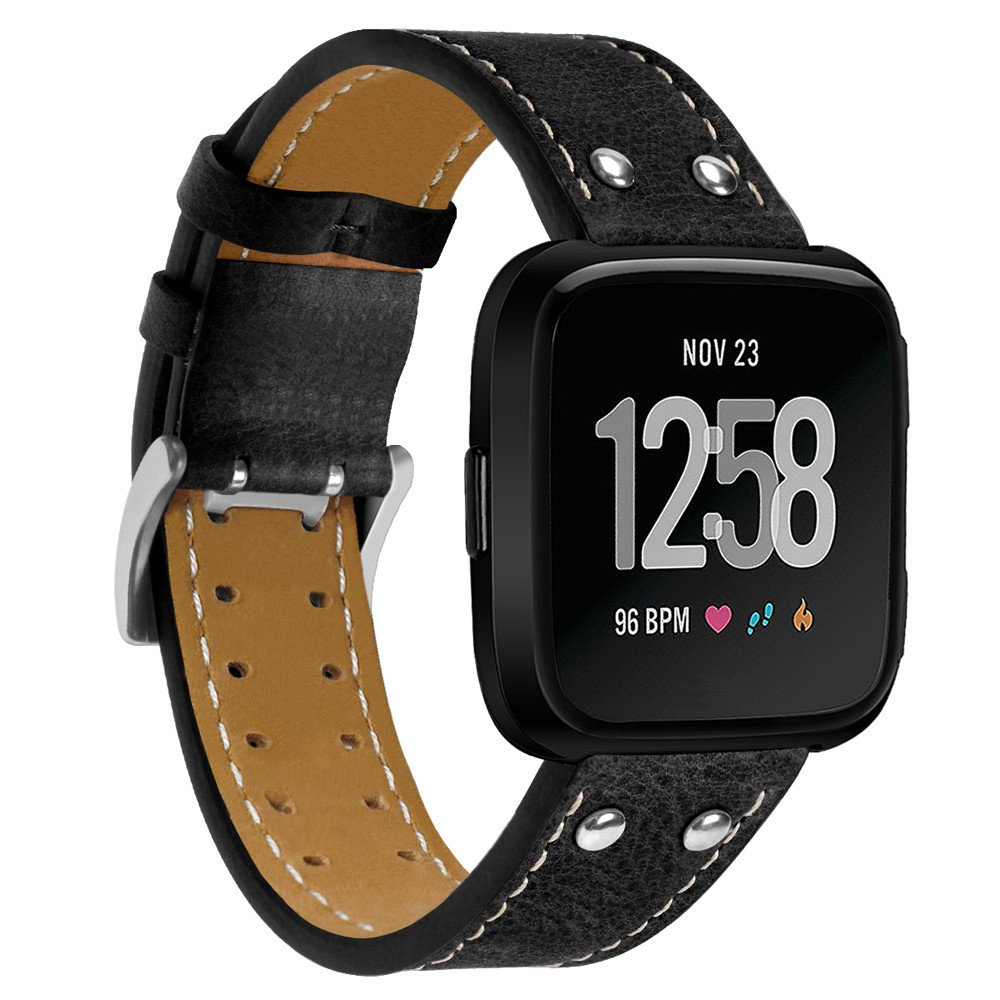 Correa de Reloj Casual, YpingLonk Doble Clavo para Fitbit Versa Watch Original Pulsera Banda Más Colores Opcionales Relojes Diseño Liso Repuestos De Cuero ...
