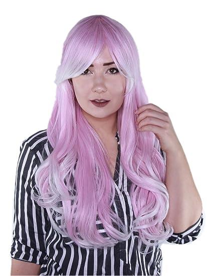 Prettyland C014 - Peluca rizada larga ondulada Rosa blanca pelirroja con cosplay largo potro