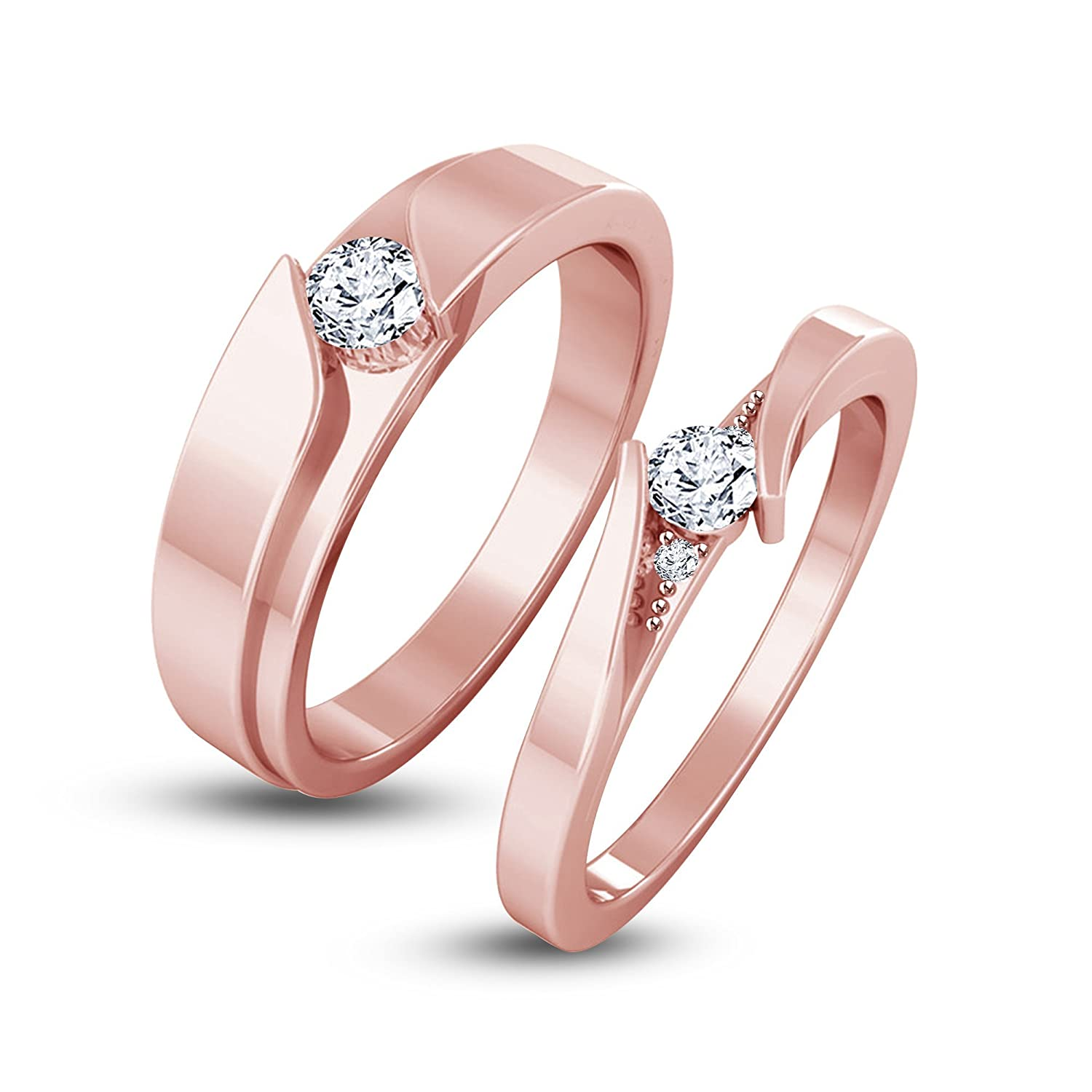 Buy atjewels Elegant Couple Ring in 14K Rose Gold Plated on 925 ...