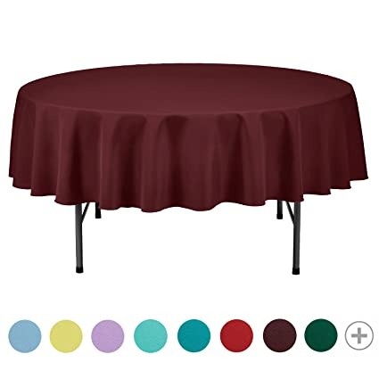 VEEYOO 70 Inch Round Solid Polyester Tablecloth For Wedding Restaurant  Party, Burgundy