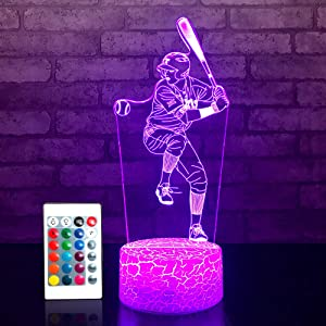 JMLLYCO Baseball Night Lights for Kids Baseball Gifts 16 Colors Change with Remote Control 3D Optical Illusion Baseball Decor Lamp As a Gift Ideas for Kids Boys Birthday Gifts (Baseball)