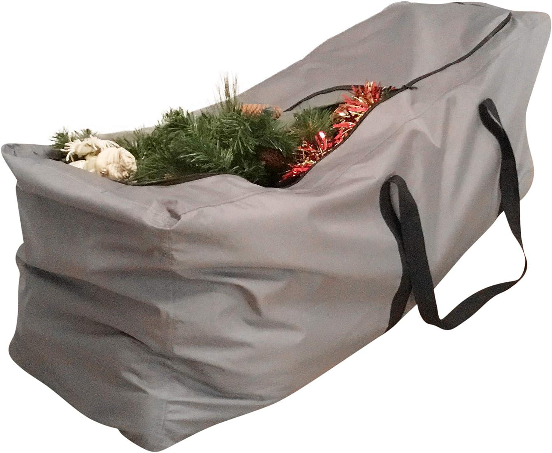 Kingsbridge Christmas Tree Storage Bag (L) Double Stitching-Rip Proof 600D Fabric. Fits up to 6ft Trees 120cmx45cmx55cm…