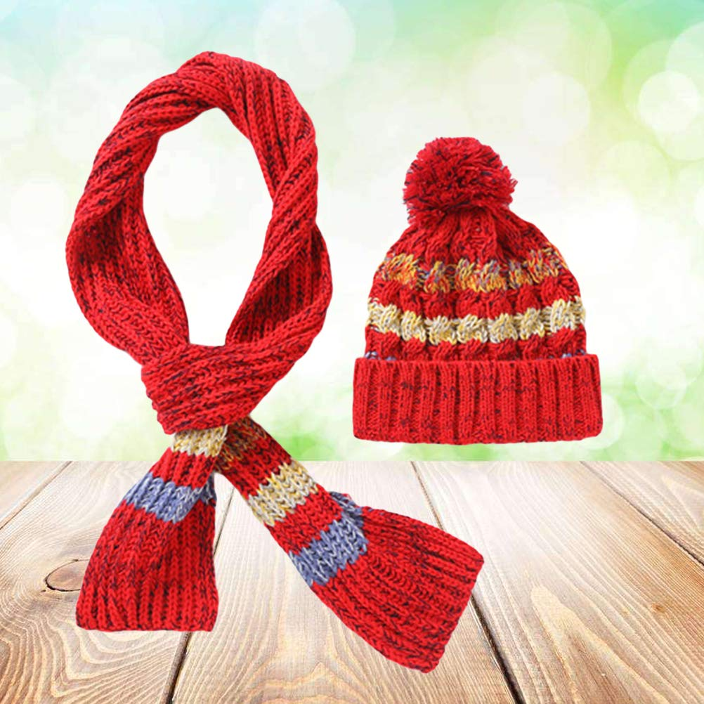 Knit Pom Beanie Hat and Scarf for Baby Kids Girls Red Size M for 4-9 Years old