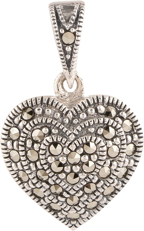Marcasite Floral Filigree Heart Pendant