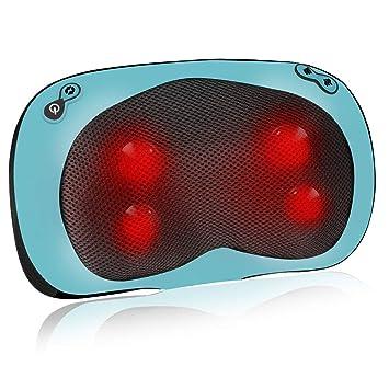 ESSEASON Masajeador Cervical y Espalda - Cojín Masajeador con 4 Botones, Almohada Cervical con Función de Calor para Relajar el Cuello Hombro Lumbares ...