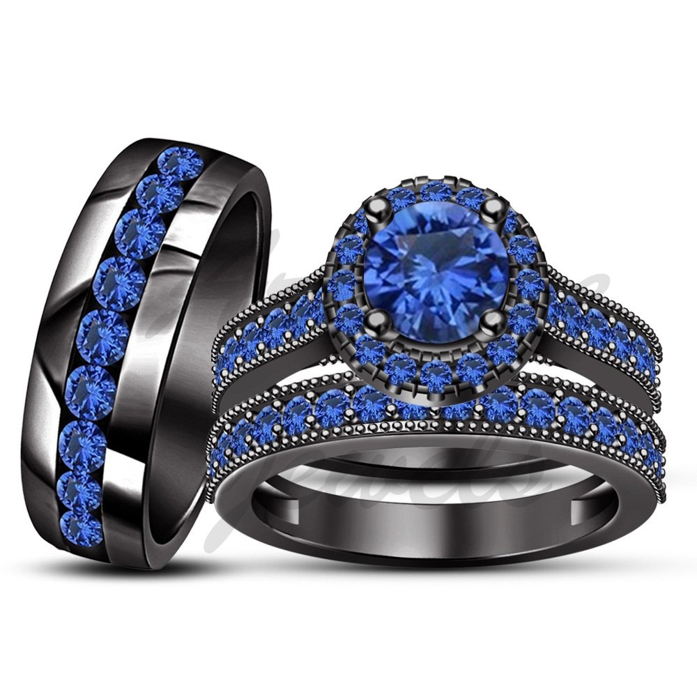 ArtLine Jewels 14k Black Gold Finish Trio Blue Sapphire Wedding Ring Engagement Bands Bride Groom Set