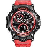 Relojes para Hombre Militar Sport Sport Watch 50m Relojes De Pulsera Impermeables (Red)
