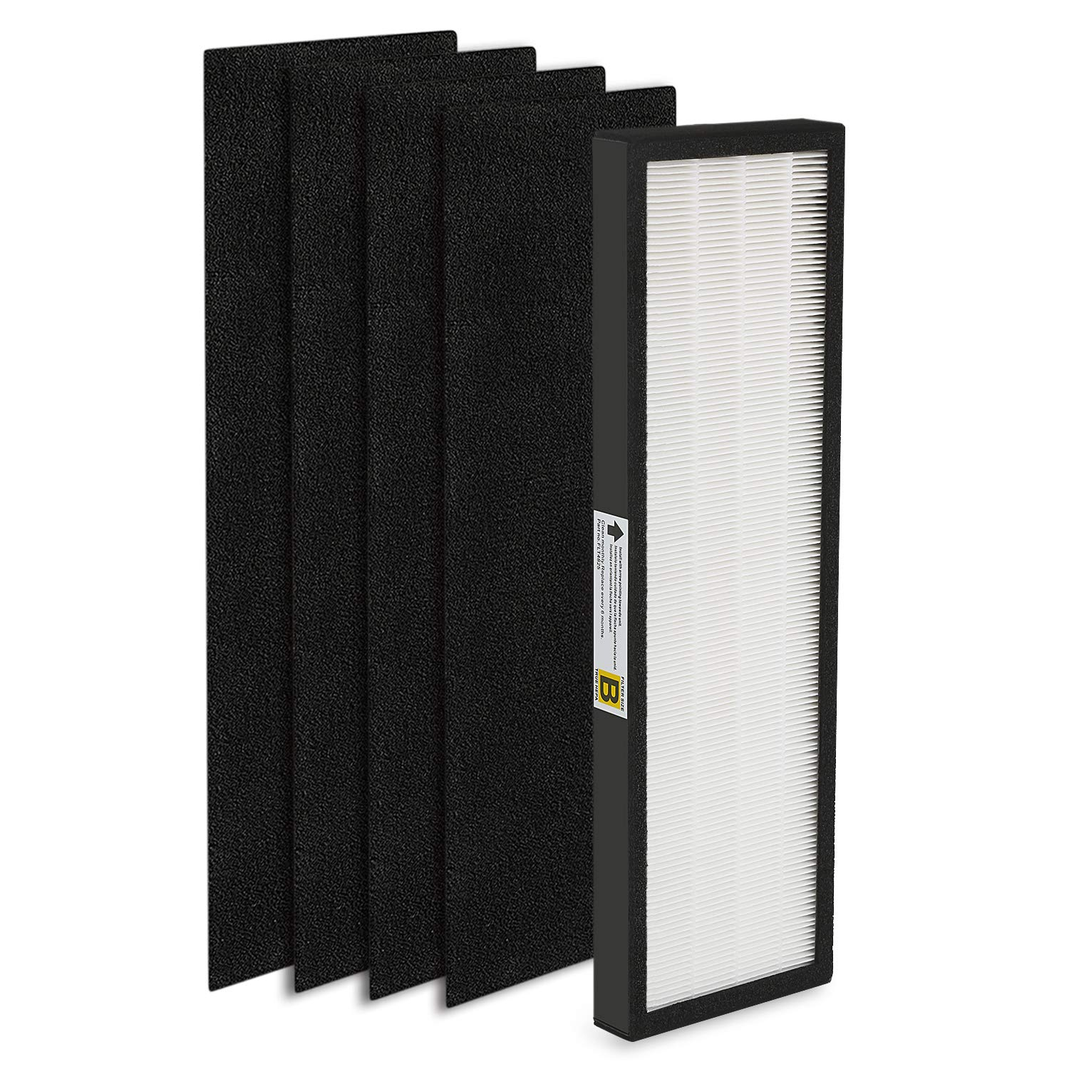 isinlive 1 HEPA Filter and 4 Pack of Activated Carbon Pre Filters Compatible Germ Guardian Air Purifier AC4300 AC4800 AC4900 AC4825 and FLT4825 Filter B
