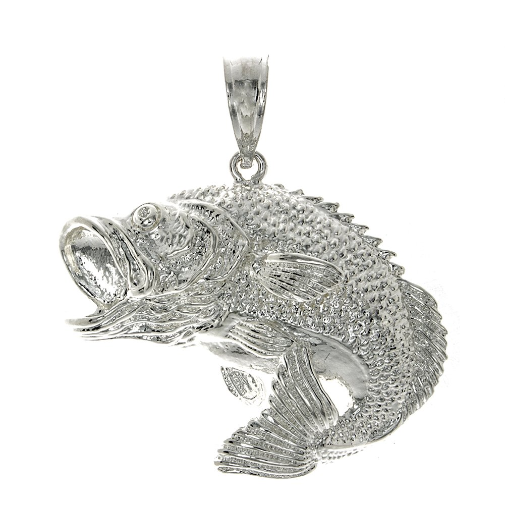 925 Sterling Silver Nautical Charm Pendant, Large Bass Fish Jumping 2D by Million Charms (Image #1)
