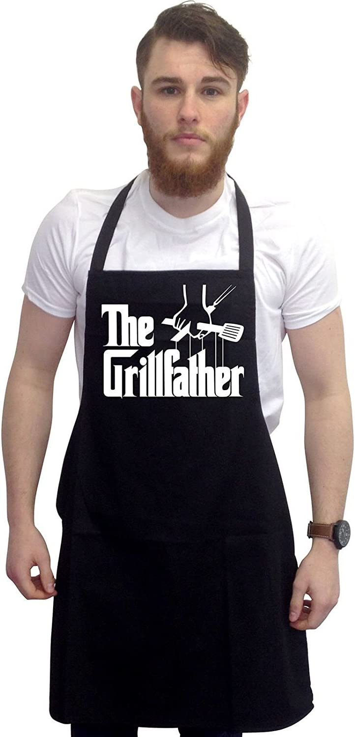 ICONIC APRONS,MENS//WOMENS,BLACK PRINTED NOVELTY APRON,SUMMERS BBQ CAMPER CHEF