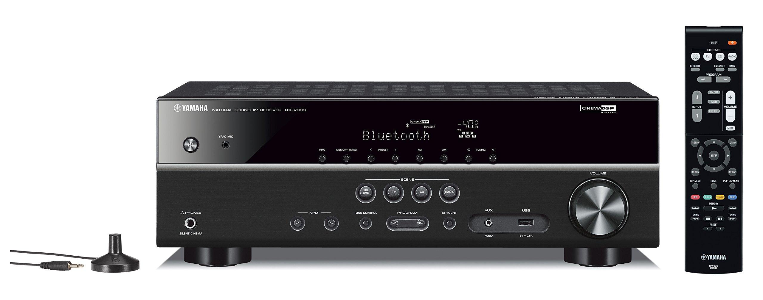 Yamaha RX-V383BL 5.1-Channel 4K Ultra HD AV Receiver with Bluetooth by Yamaha
