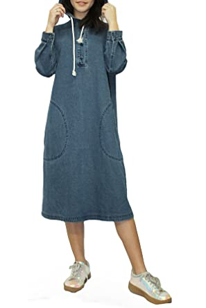 honeygo Women s Hooded Denim Shirt Dress Blue Denim Loose Midi Dress ... f1ca6a6806