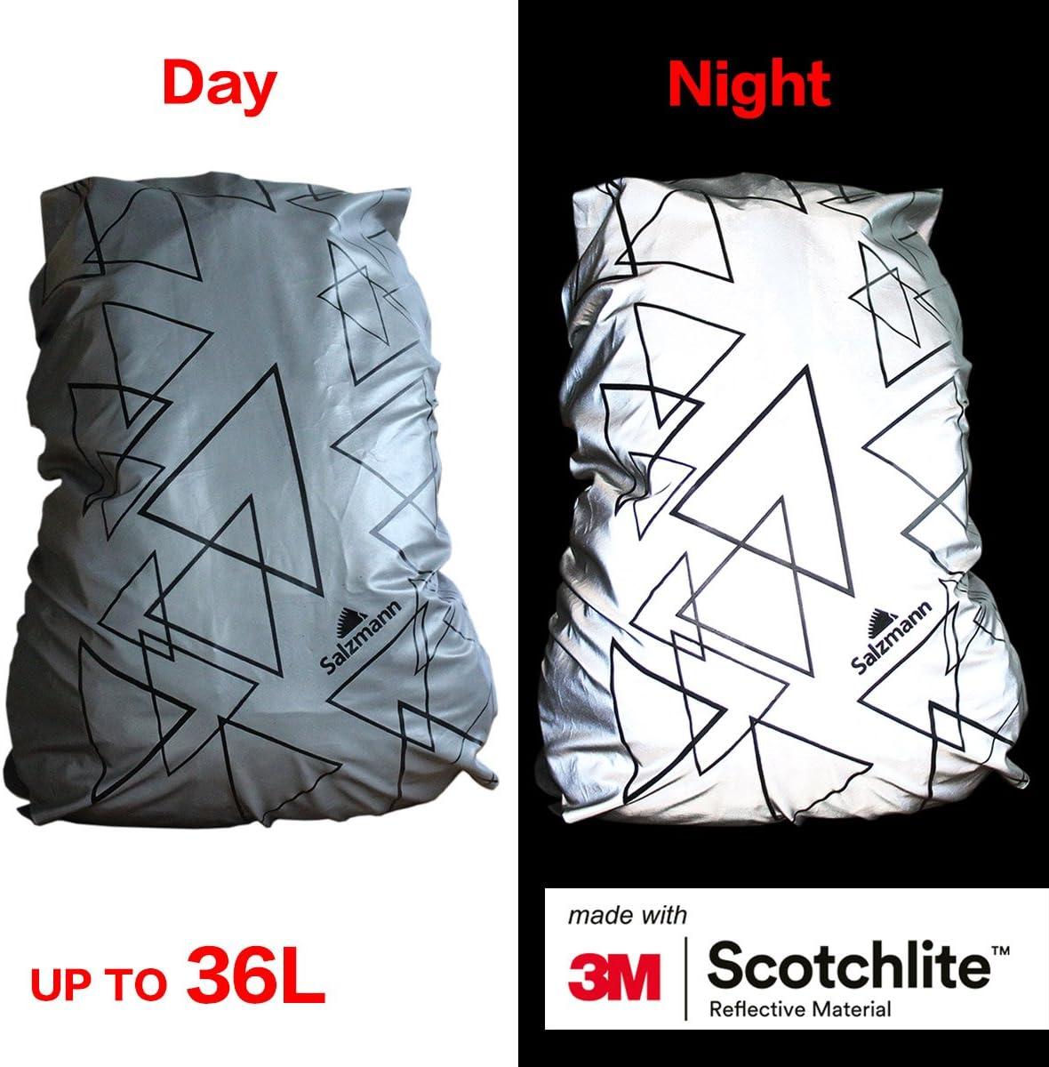 Fabriqu/ée avec 3M Scotchlite Salzmann 3M Housse de Sac /à Dos r/éfl/échissante Couverture Anti-Pluie Imp/érmeabile