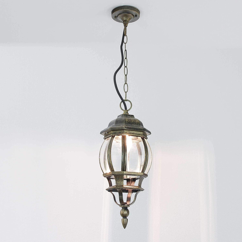 Forma Bella/ /L/ámpara de techo antiguo dorado Farol aluminio cristal IP43/E27/L/ámpara exterior balc/ón terraza Entrada