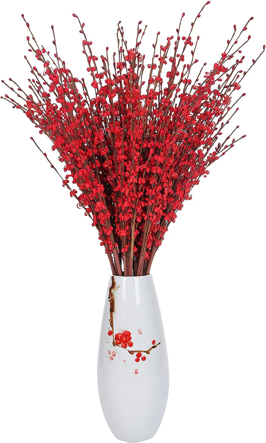 """Momkids 10 Pcs 29.5"""" Long Stem Artificial Jasmine Flowers Tall Fake Flower Bouquet Faux Jasmine Plants for Hotel Home Office Kitchen Bedroom Wedding Party DIY Decor(Red)"""