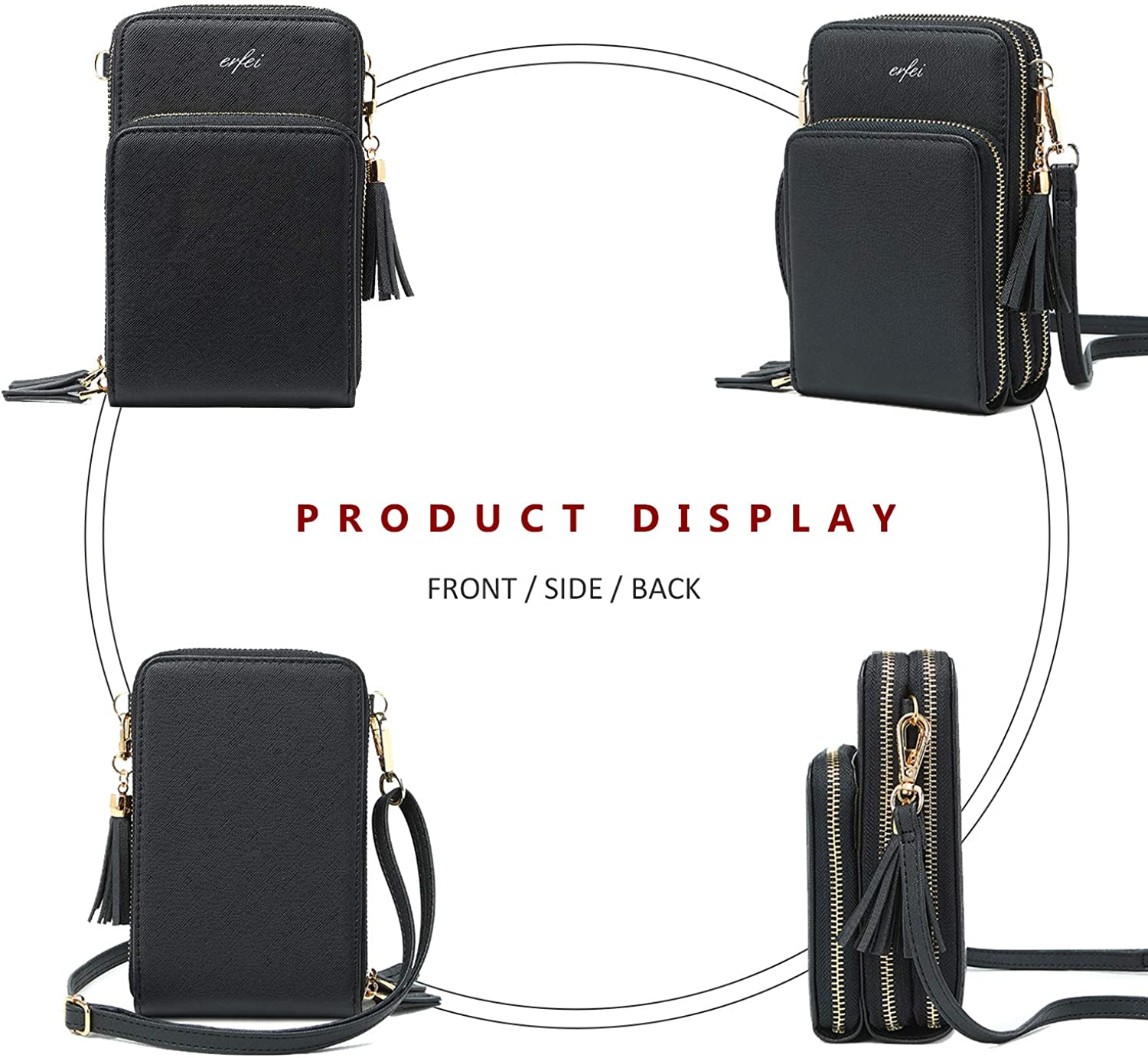 Mini Messenger Shoulder Bag Wallet with Credit Card Slots Small Crossbody Cell Phone Purse for Women