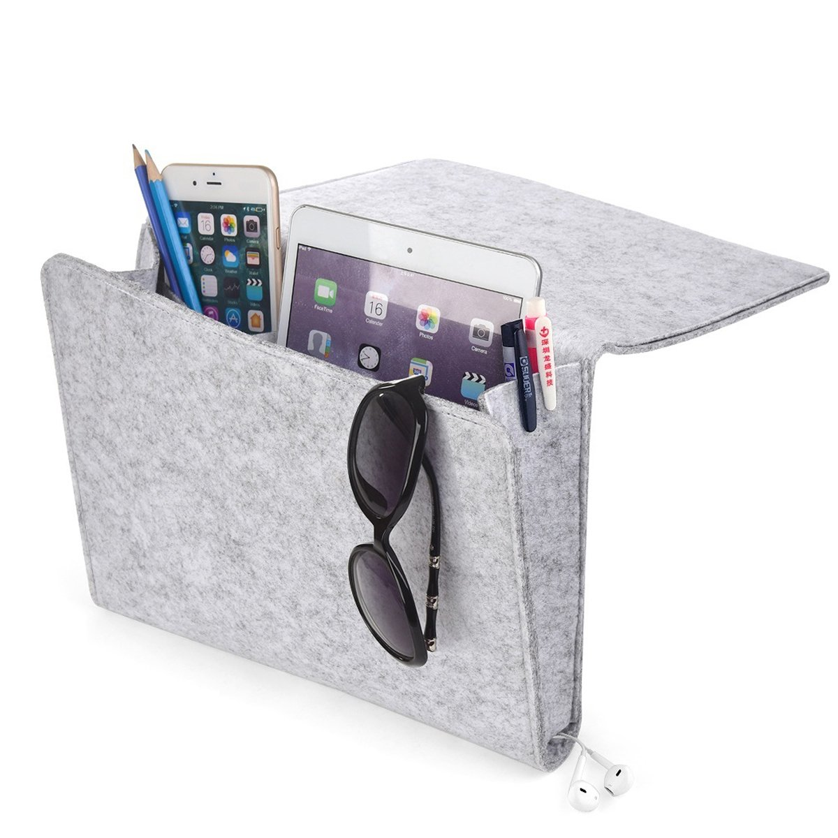 [Upgraded] Thicker Bedside Caddy, Bed Caddy Storage Organizer Home Sofa Desk Felt Bedside Pocket with Cable Holes 2 Small Pockets for Organizing Tablet Magazine Phone Small Things Holder (Light-Gray)