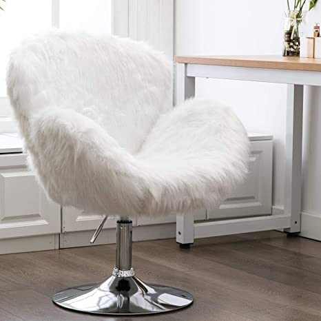 Stupendous Faux Fur Accent Chair Height Adjustable Plush Vanity Stool For Bedroom Shaggy Dog Shell Chair For Dorm Living Room White Caraccident5 Cool Chair Designs And Ideas Caraccident5Info