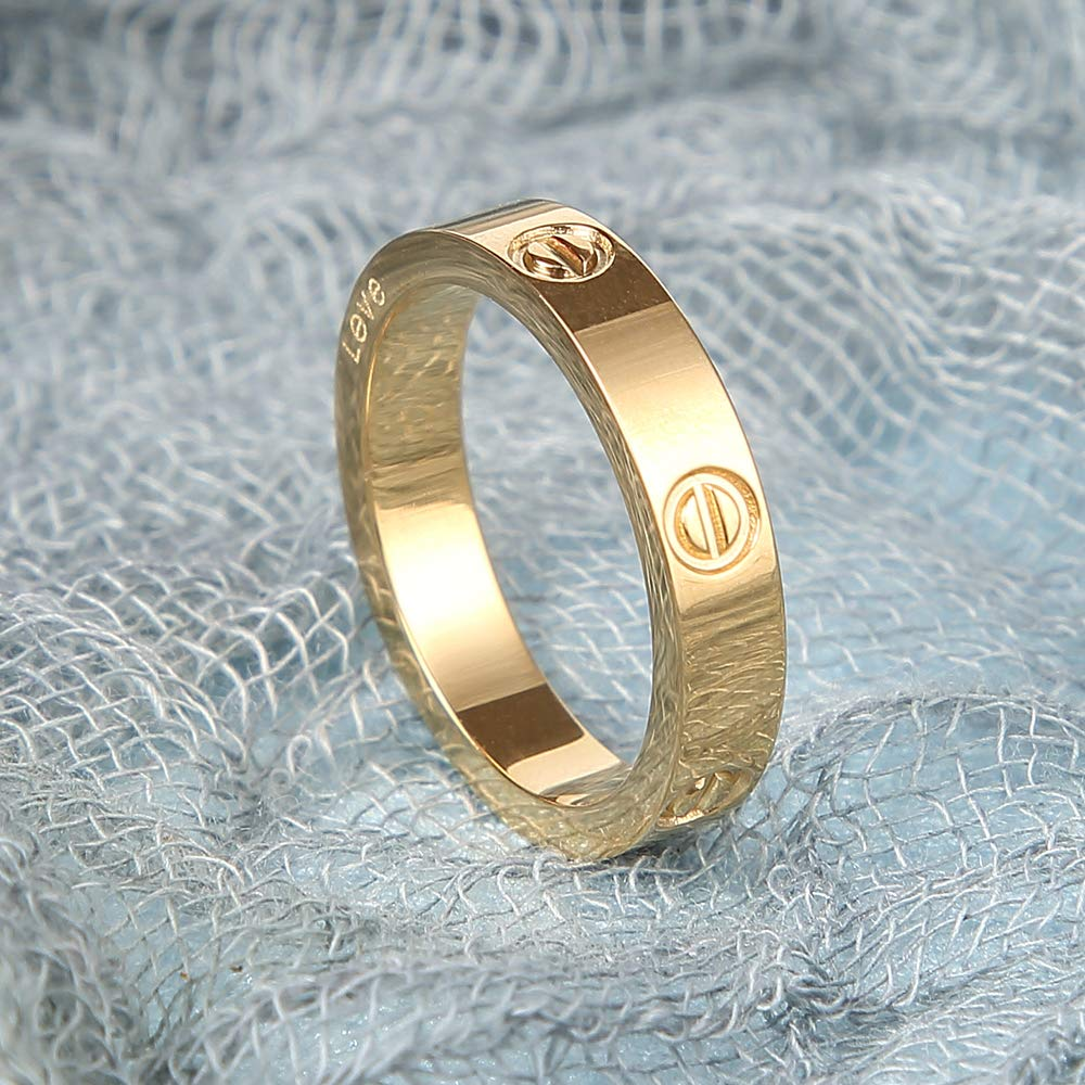 Stainless Steel Couple Ring for Engagement Anniversary Promise Love Rings Best Gift for Women Men Couples Valentines Day Promise Engagement Wedding