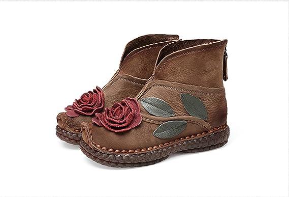 GRRONG Herbst Und Winter Frauen Schuhe Blumen Flache Mode Freizeit Retro Handgefertigte Original Kurzen Stiefel