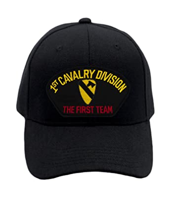 ac3370aa70380 Patchtown 1st Cavalry Division Hat - The First Team Ballcap Adjustable One  Size Fits Most