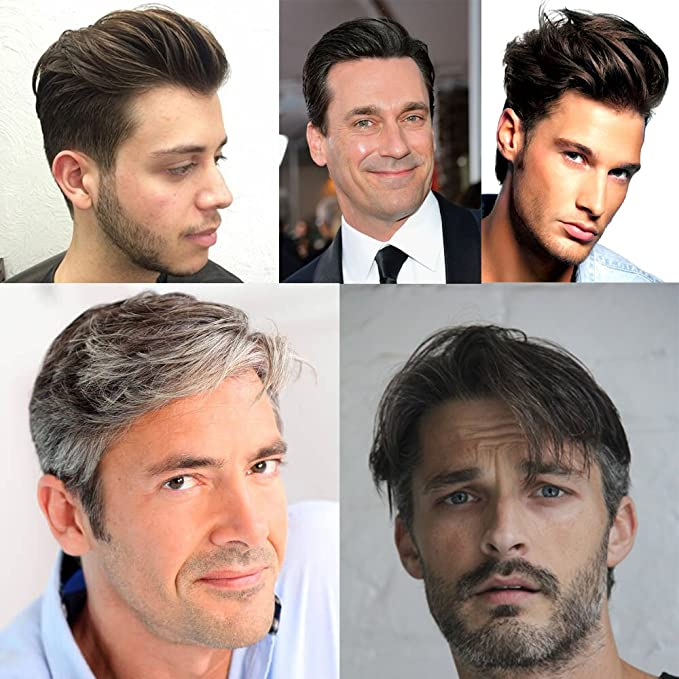 Toupee Pelucas Para Hombres Q6 Base Toupee Replacement Pelucas Nudos Blanqueados Invisible Naturale Looking - Para El Cabello Humano Indio #1B (Off Negro): ...