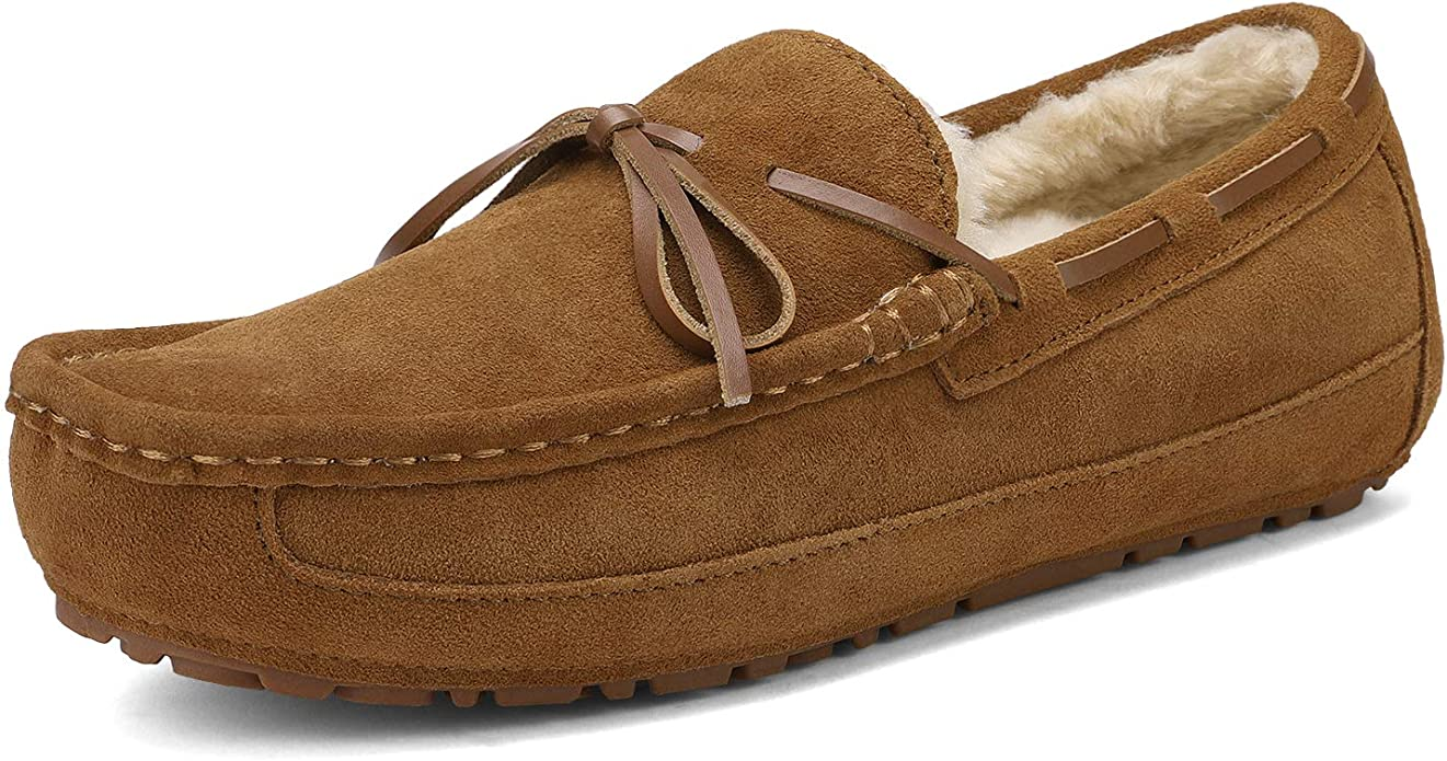 DREAM PAIRS Men's Au-Loafer-02 Tan Faux Fur Slippers Loafers Shoes Size 11 M US