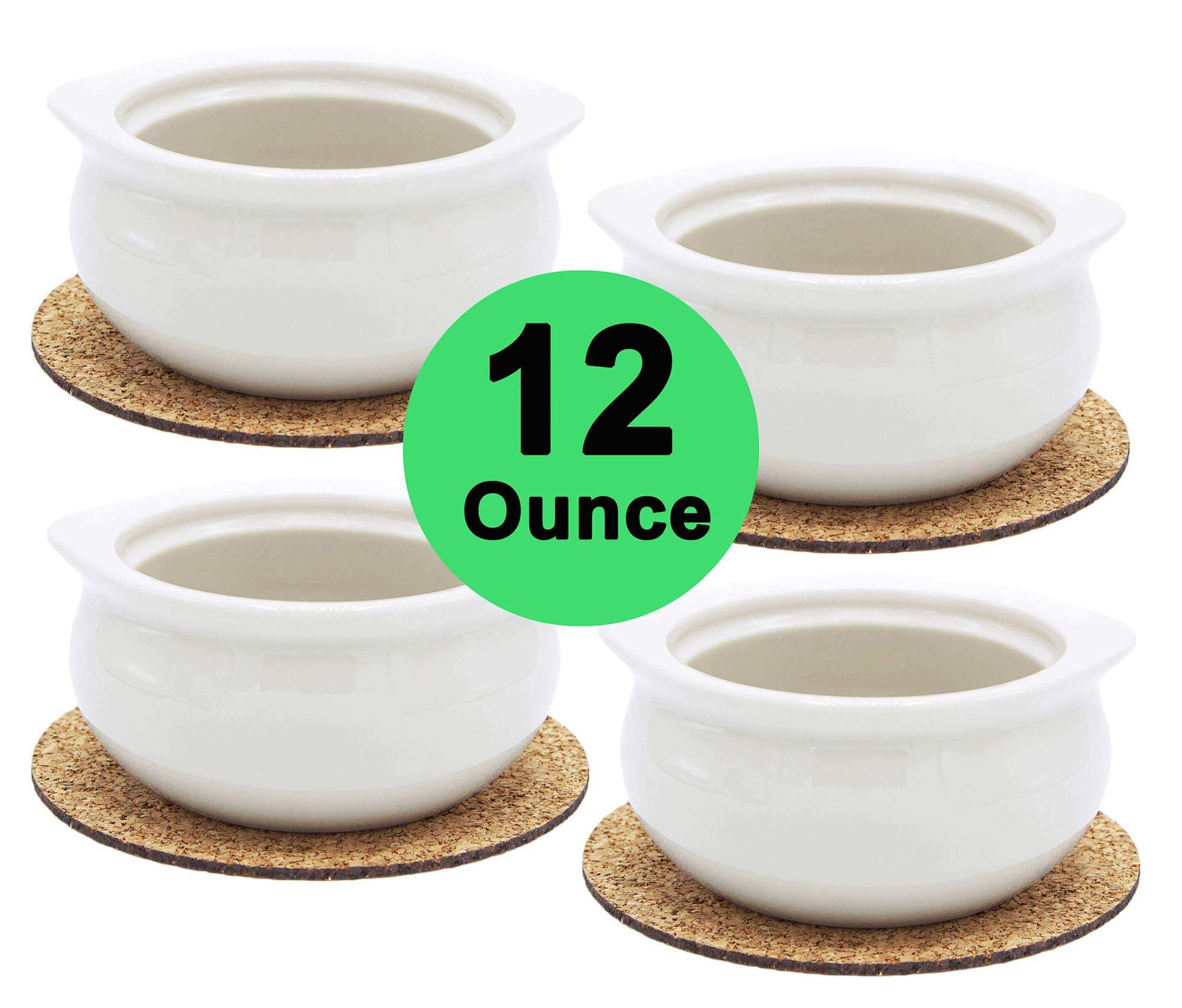 Premium Porcelain 12 Ounce Onion Soup Bowls - American White - Set of 4 with Cork Coasters - Classic European Style Healthy Portion Crocks – Oven- Microwave- Dishwasher safe