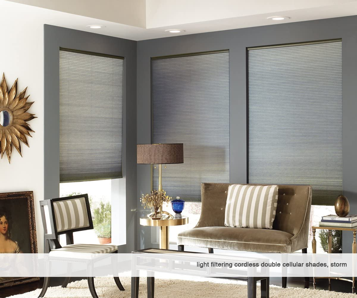 First Rate Blinds Custom Cordless Double Cell Shades, 69W x 60H, Light Filtering 18-72 Wide, Storm