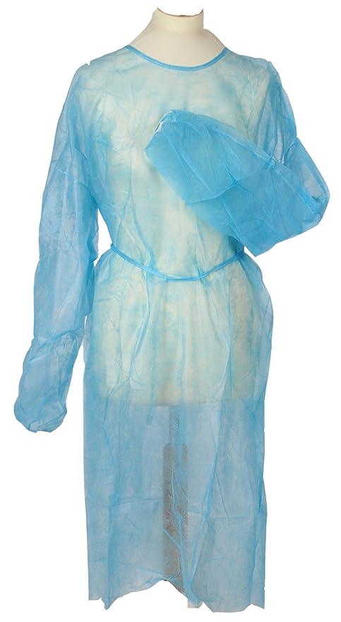 Bata de fieltro desechable azul 10unidades aprox. 120x 155cm