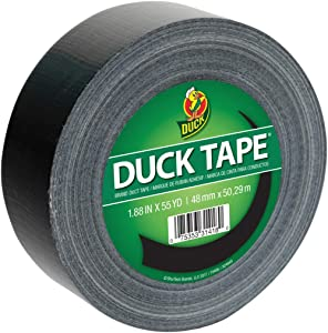 Duck 241746 Color Duct Tape Single Roll, 1.88 Inches x 55-Yards, Black