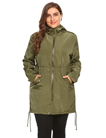 09557b08a16 Amazon.com  IN VOLAND Womens Plus Size Casual Long Waterproof Raincoat  Hooded Lightweight Jacket Windproof Coat  Clothing