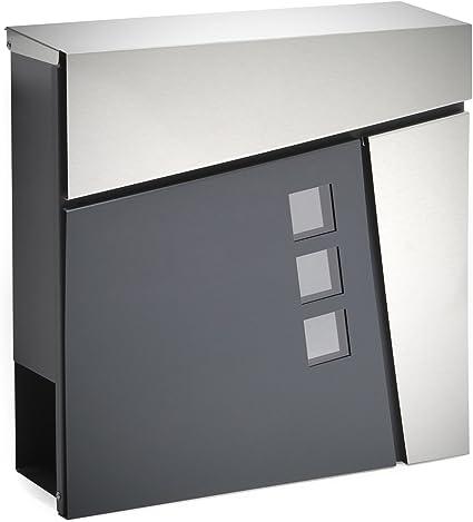 Cassetta postale con vano portagiornale in acciaio inox di colore grigio antracite Fissagio a parete
