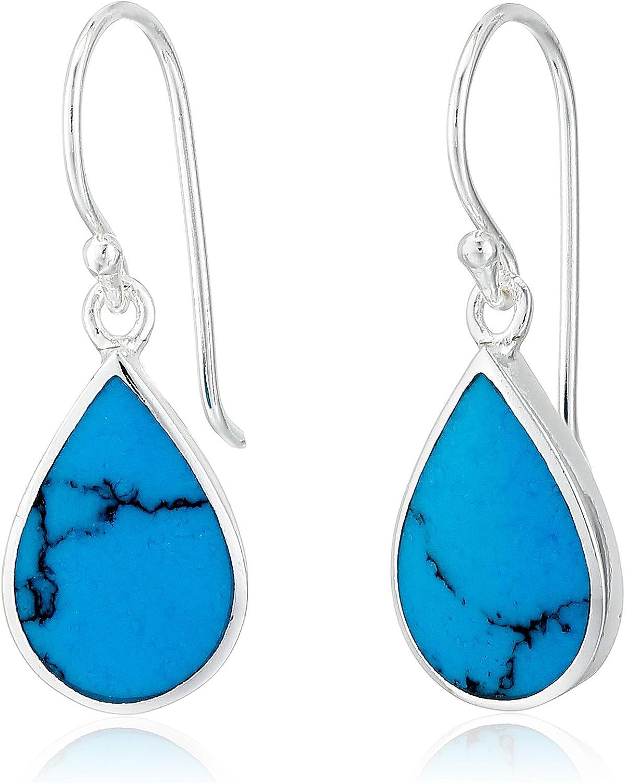 Trendy Women Turquoise blue Stone Fan Shape Crystal Drop Earrings Jewelry