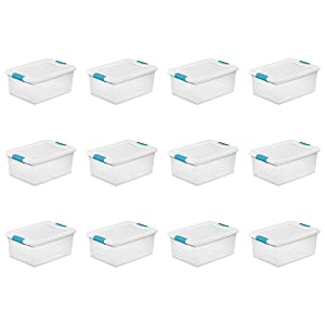 Sterilite 1494801215 quart/14 L Latching Box with Clear Base, White Lid and Colored Latches, 12- Pack